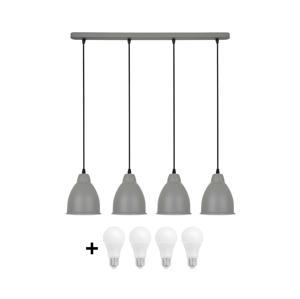 Solight LED Luster 4xE27/10W/230V šedá 14cm